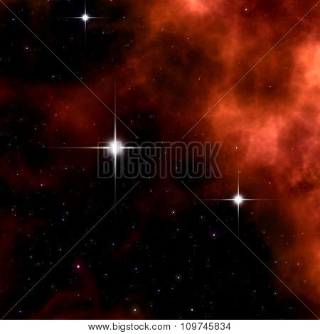 An image of a strange red nebula in space