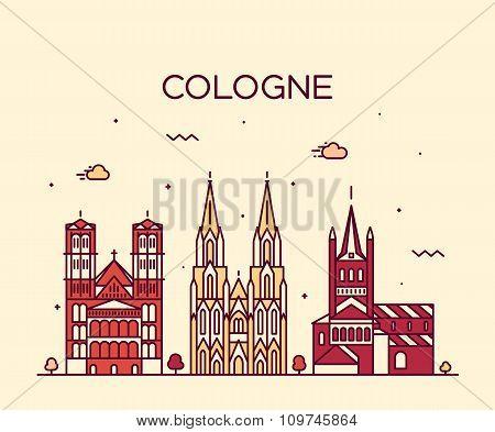 Cologne skyline vector illustration linear style