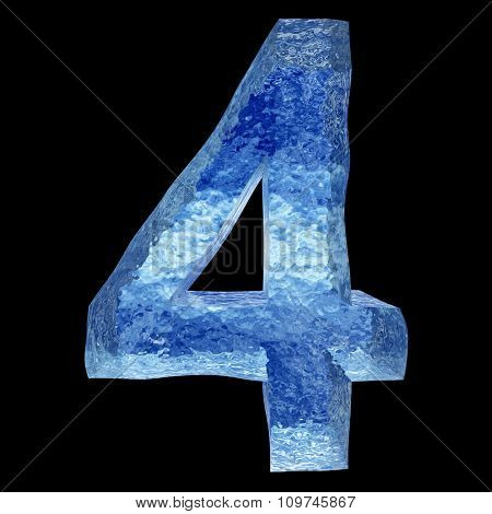 Concept conceptual 3D blue water or ice font part of set or collection isolated on black background for whinter