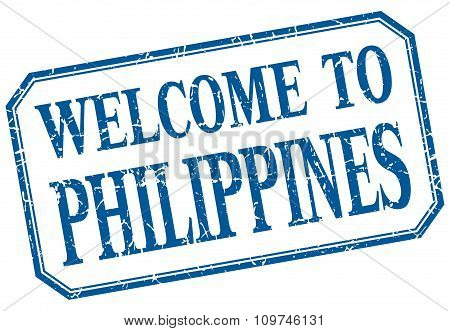 Philippines - Welcome Blue Vintage Isolated Label