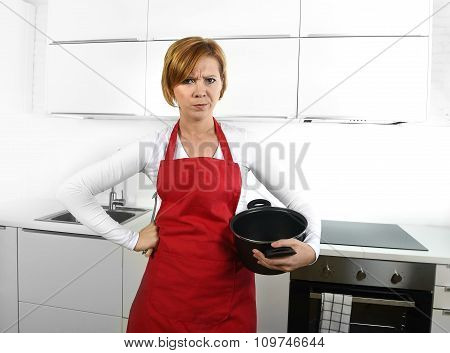 Cook Woman In Angry Upset Frustrated Face Expression In Apron Holding Cooking Pan Dirty Edit
