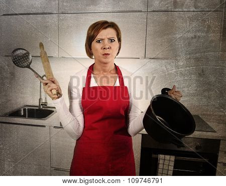 Home Cook Woman Confused And Frustrated In Apron Asking For Help Dirty Edit