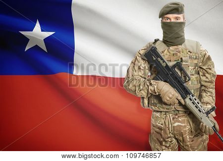 Soldier Holding Machine Gun With Flag On Background Series - Chile
