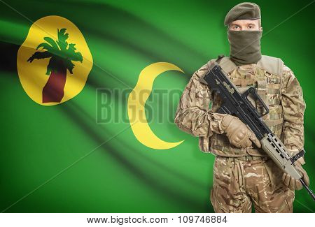 Soldier Holding Machine Gun With Flag On Background Series - Cocos (keeling) Islands