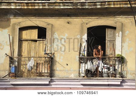 Facade Of Havana Old City.