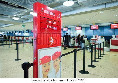 GENEVA, SWITZERLAND - NOVEMBER 19, 2015: check-in area of Emirates airlines in Geneva Airport. Geneva International Airport is the international airport of Geneva, Switzerland.