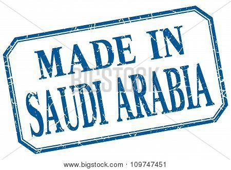 Saudi Arabia - Made In Blue Vintage Isolated Label