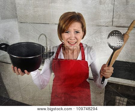 Rookie Home Cook Woman In Red Apron At Home Kitchen Holding Cooking Pan And Rolling Pin Crying Sad I