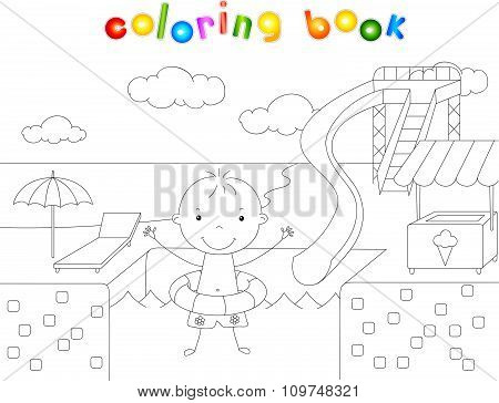 Boy With A Rubber Ring In The Water Park Swimming Pool. Coloring Book