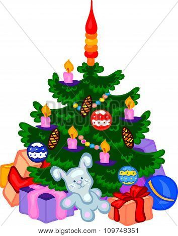 Cristmas Tree With Cones, Balls, Garlands And Gifts