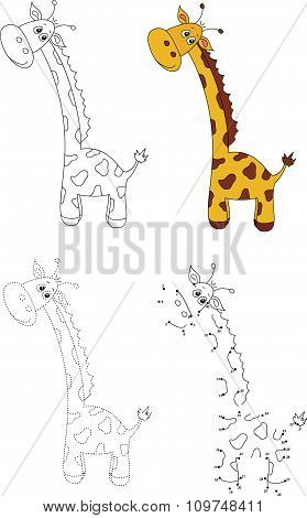 Cartoon Giraffe. Vector Illustration. Dot To Dot Game For Kids