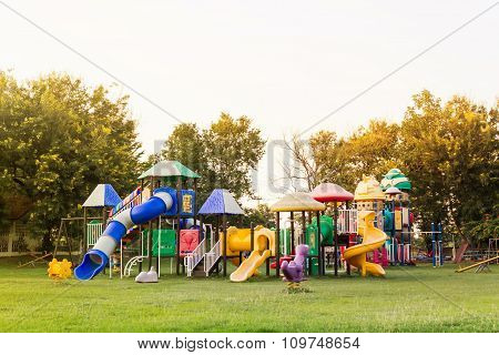 Village Public Playground With Colourful Plaything  For Children