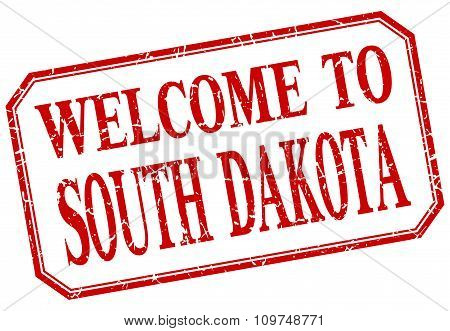South Dakota - Welcome Red Vintage Isolated Label