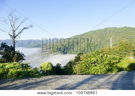 Sea Of Mist And Fog On The Mountain