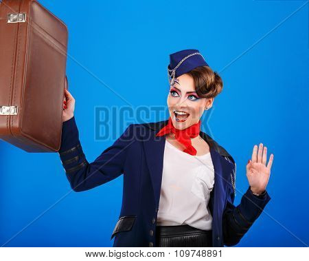 Stewardess With Face Art Luggage Holds.