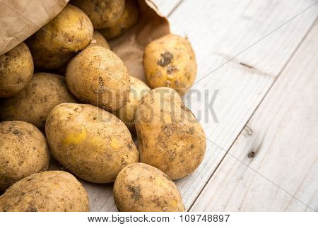 Dirty raw rustic white potatoes