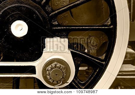 Sepia Detail And Close Up Of Huge Wheels At One Old Steam Locomotive 9