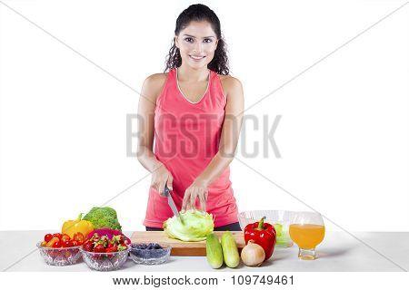 Healthy Woman Preparing Superfood