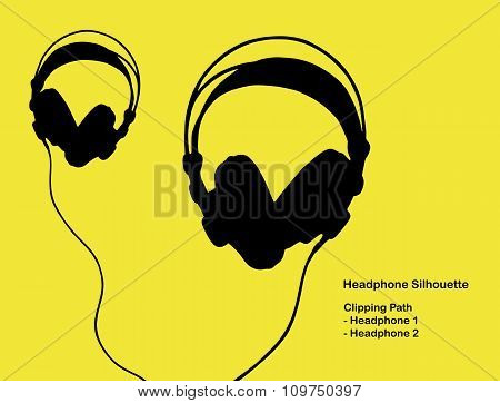 Studio Headphone Silhouette With Clipping Path On White Background