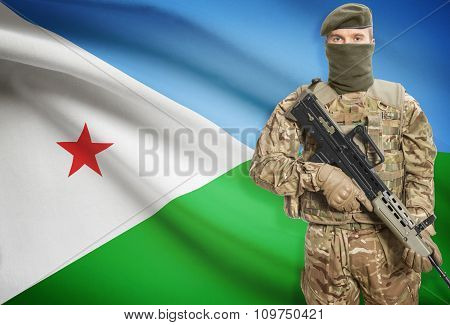 Soldier Holding Machine Gun With Flag On Background Series - Djibouti