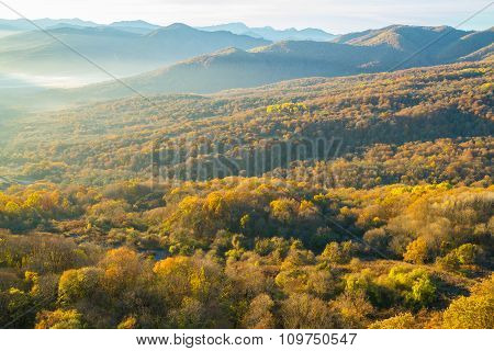 Colorful Autumn In The Mountains And Valleys
