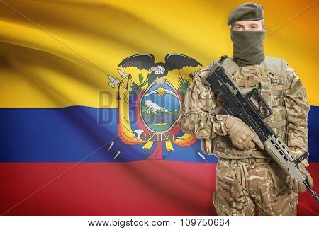 Soldier Holding Machine Gun With Flag On Background Series - Ecuador