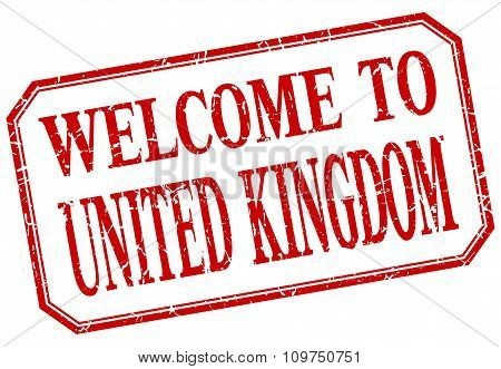 United Kingdom - Welcome Red Vintage Isolated Label