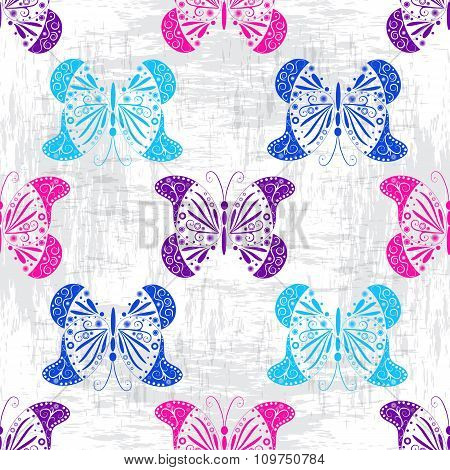 Grungy Pattern With Colorful Butterflies