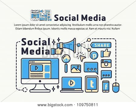 Social Network Marketing Banner and Icons