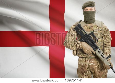 Soldier Holding Machine Gun With Flag On Background Series - England