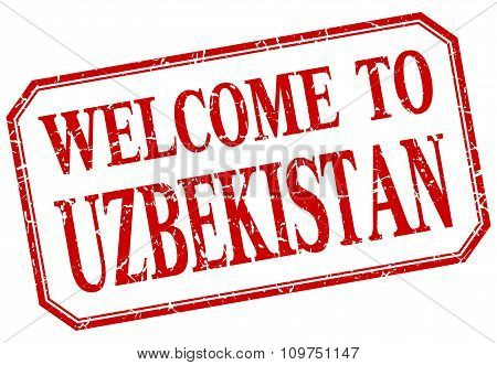 Uzbekistan - Welcome Red Vintage Isolated Label