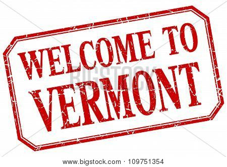 Vermont - Welcome Red Vintage Isolated Label