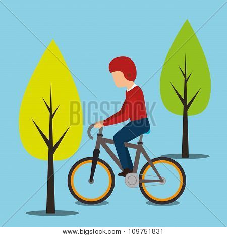 Bike and rider on blue background