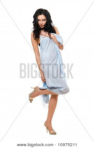 Playful Young Brunette Wrapped In Blue Cloth