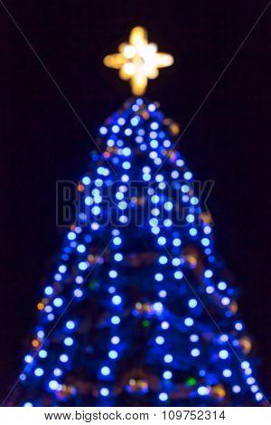 Defocused Blue Christmas Tree Street Decoration