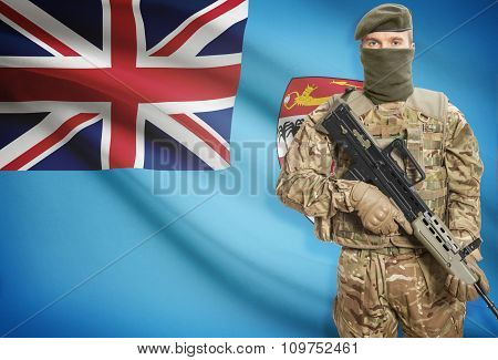 Soldier Holding Machine Gun With Flag On Background Series - Fiji