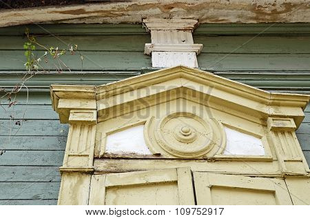 The Carving Decorative Element Of Window Of The Wooden House. Irkutsk Streets, Russia
