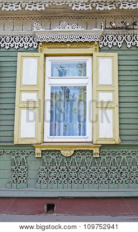 The Window With Shatters And Old Lacy Wall.  Irkutsk Streets, Russia