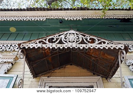 The Carving Decorative Element Of The Entrance Of The Wooden House. Irkutsk Streets, Russia