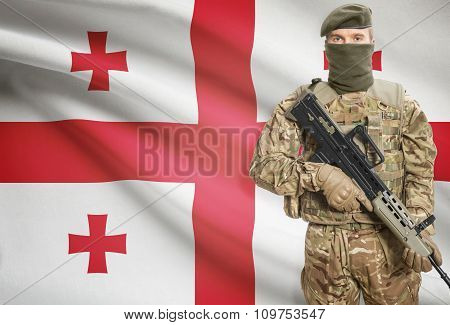 Soldier Holding Machine Gun With Flag On Background Series - Georgia