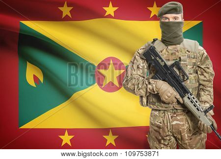 Soldier Holding Machine Gun With Flag On Background Series - Grenada