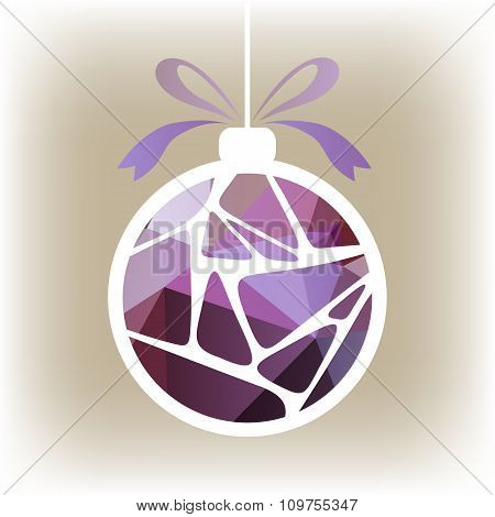 violet striped christmas ball