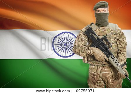 Soldier Holding Machine Gun With Flag On Background Series - India