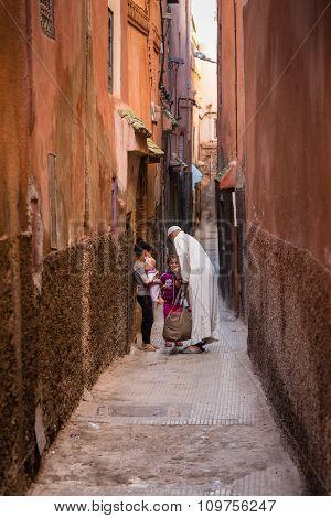 Narrow Alleyways Of Marrakech Medina