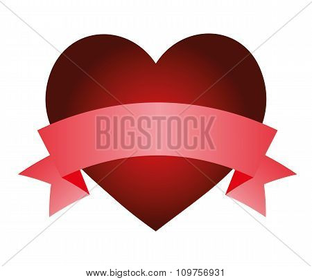 Heart With Ribbon Isolated Object Vector