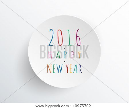 Happy New 2016 Year. Greetings Card. Minimal White Design. Vector Illustration.