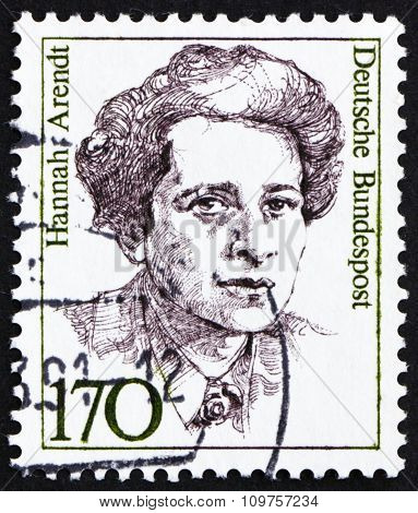Postage Stamp Germany 1988 Hannah Arendt, American Political Scientist