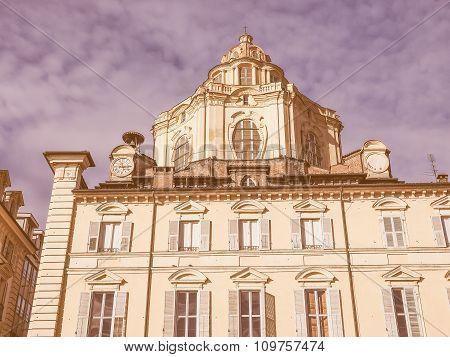 Retro Looking San Lorenzo Church Turin
