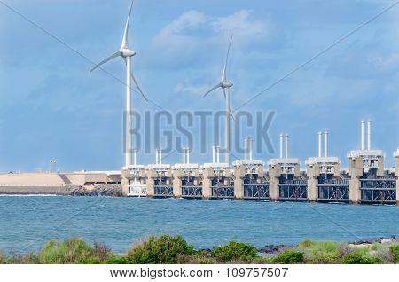 Wind Turbine In The Sea