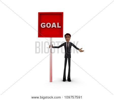 3D Man Holding A Mesage Board , Goal Text In It Concept